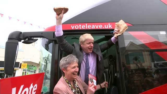 battle for conservative party leadership lib / cornwall boris johnson mp and gisela stuart mp holding up cornish pasties - 国民投票点の映像素材/bロール