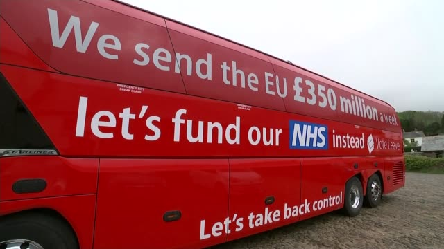 Battle for Conservative Party leadership LIB / Cornwall 'Vote Leave' battle bus in field