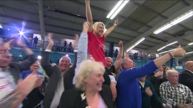 battle for conservative party leadership lib / tx tyne and wear sunderland int 'vote leave' supporters celebrating - 2016 european union referendum stock videos & royalty-free footage