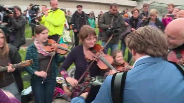 Emergency debate in Scottish Parliament SCOTLAND Edinburgh EXT Scottish band playing anthem of the European Union 'Ode to Joy' SOT Saltire Band...