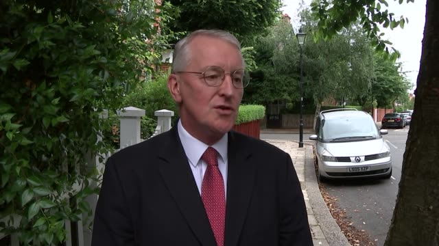 labour party resignations following hilary benn sacking england london photography*** hilary benn mp leaving his house and along to make statement to... - hilary benn stock-videos und b-roll-filmmaterial