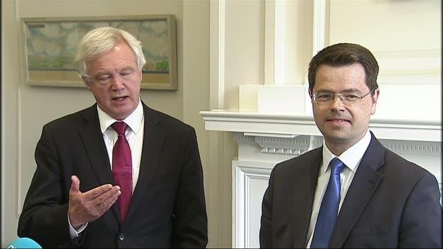 minister wants to keep uk and irish border open; northern ireland: int david davis speaking to press sot - with respect to access to single market,... - us state border stock videos & royalty-free footage