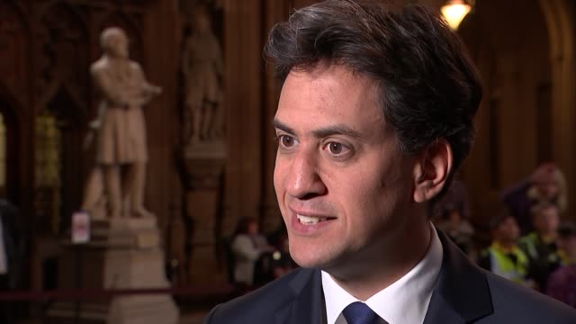 mps argue over whether parliament to have a say in negotiations: miliband interview; england: london: westminster: int ed miliband mp interview sot - mp stock videos & royalty-free footage