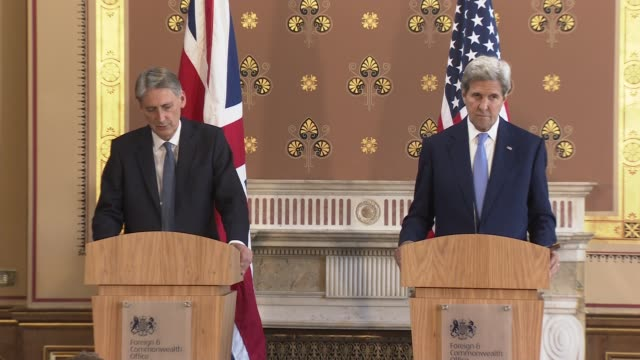 Philip Hammond and John Kerry press conference ENGLAND London Foreign and Commonwealth Office INT John Kerry and Philip Hammond MP along into press...