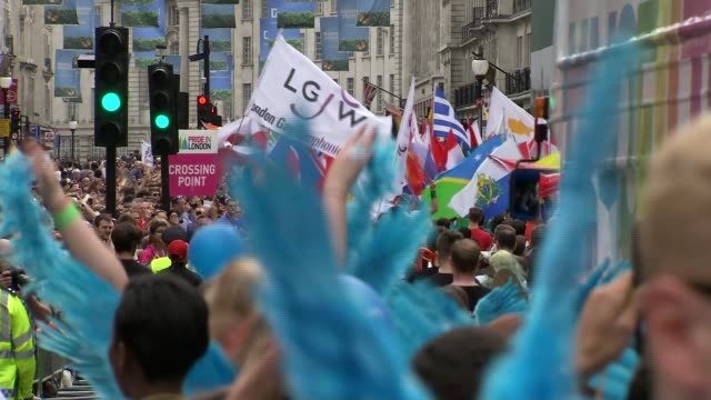 political developments EXT High angle view of crowd of people attending Gay Pride parade Crowd of people attending London Pride Sadiq Khan speech SOT...