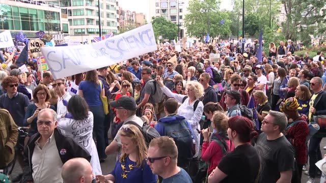 Remain supporters 'March for Europe' protest held in London ENGLAND London EXT Various shots demonstrators gathered at 'March for Europe' protest...
