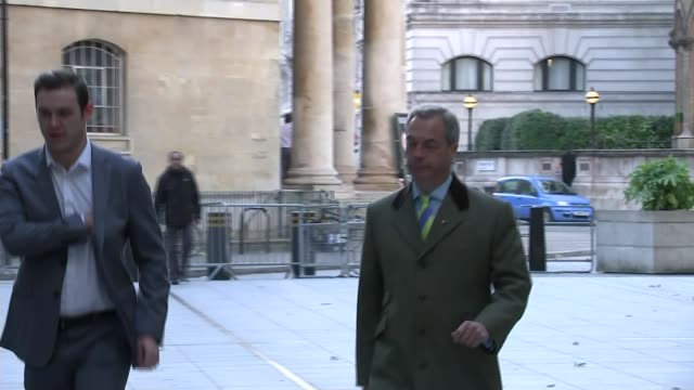 Theresa May backs right of newspapers to criticize High Court judges London Leader Nigel Farage MEP arriving at New Broadcasting House ****END