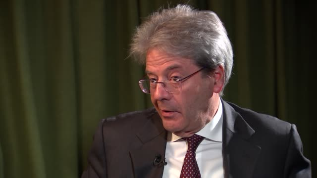 former italian prime minister paolo gentiloni interview england london int paolo gentiloni interview sot re italian perspective on brexit - former stock videos and b-roll footage