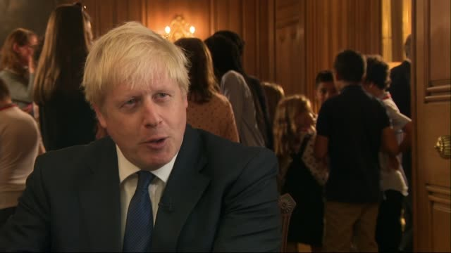 former prime ministers attack parliament suspension england london westminster downing street int boris johnson mp interview sot there's movement... - hair length stock videos and b-roll footage