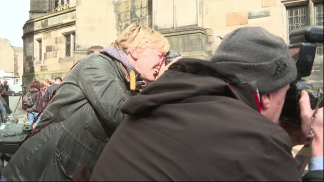 former prime ministers attack parliament suspension scotland edinburgh old town / royal mile high court joanna cherry mp posing with demonstrators... - royal mile stock videos and b-roll footage