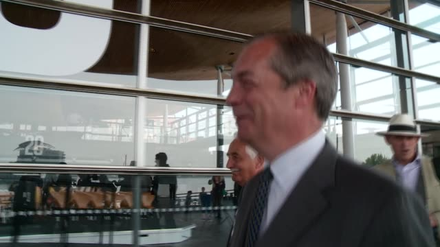 four members of welsh assembly join brexit party wales ext nigel farage along to greet and pose for photocall with james wells nathan gill and mark... - nigel farage stock videos & royalty-free footage