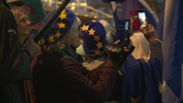 fresh blow to theresa may's brexit plan after big defeat by brexiteers england london westminster protesters chanting with eu flags and british flags... - chanting stock videos and b-roll footage
