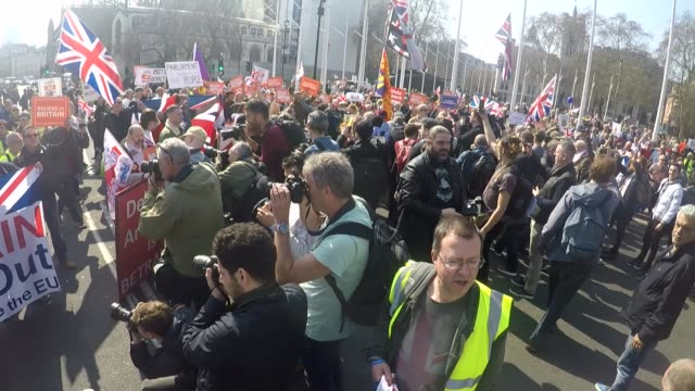 go pro footage of westminster protests; england: london: westminster: ext go pro footage of protesters gathered in parliament square - mostly... - 2016 european union referendum stock videos & royalty-free footage