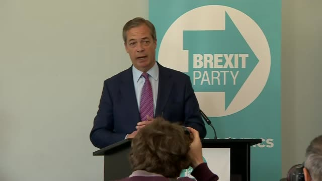 government admits uk must take part in european elections england int nigel farage press conference sot audience farage posing for photocall - nigel farage stock-videos und b-roll-filmmaterial