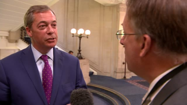 government sets out plans for future customs system with eu england london int nigel farage mep interview sot - mep stock-videos und b-roll-filmmaterial