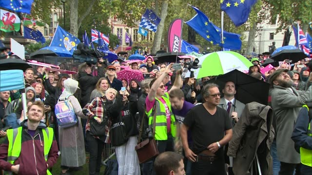 government to push brexit votes through house of commons next week despite extension request england london westminster parliament square ext crowd... - bob geldof stock videos & royalty-free footage