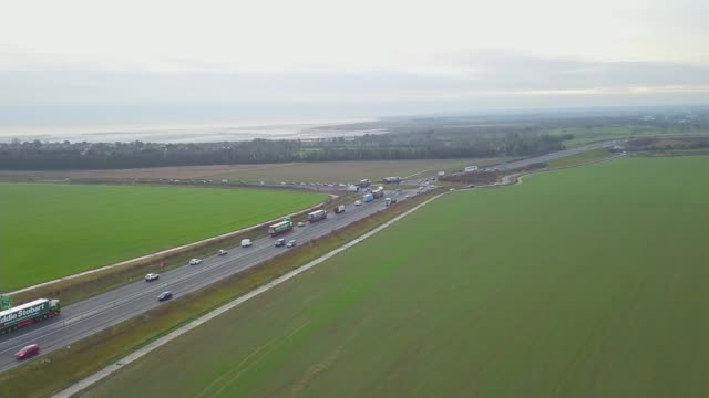 growing demands to block 'no deal' / no deal lorry rehearsal england kent ramsgate manston airport view / aerial along a road during 'operation... - ramsgate stock videos and b-roll footage