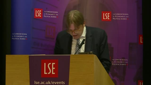 Guy Verhofstadt speech ENGLAND London London School of Economics INT Guy Verhofstadt speech SOT re May giving speech in Florence / common philosophy...