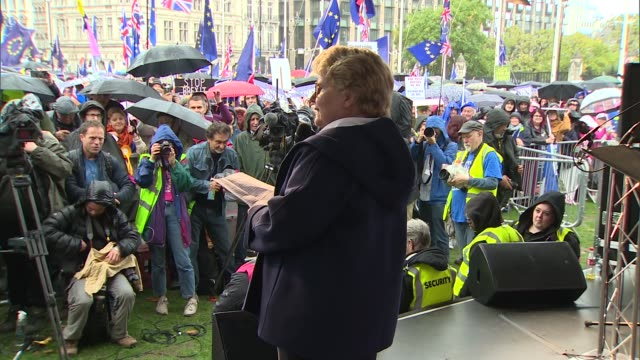 hundreds of thousands march to demand second referendum as various politicians and celebrities speak at people's vote event england london... - sandi toksvig stock videos & royalty-free footage