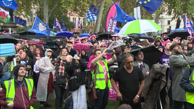 hundreds of thousands march to demand second referendum as various politicians and celebrities speak at people's vote event england london... - bob geldof stock videos & royalty-free footage