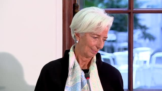 IMF warns that nodeal Brexit will damage UK economy ENGLAND London INT Christine Lagarde Philip Gerson and Gerry Rice at press conference PULL OUT