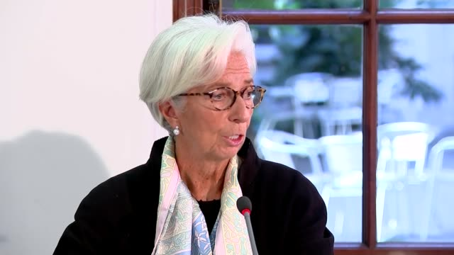 IMF warns that nodeal Brexit will damage UK economy UK London Christine Lagarde press conference ENGLAND London INT Close shot of Christine Lagarde...