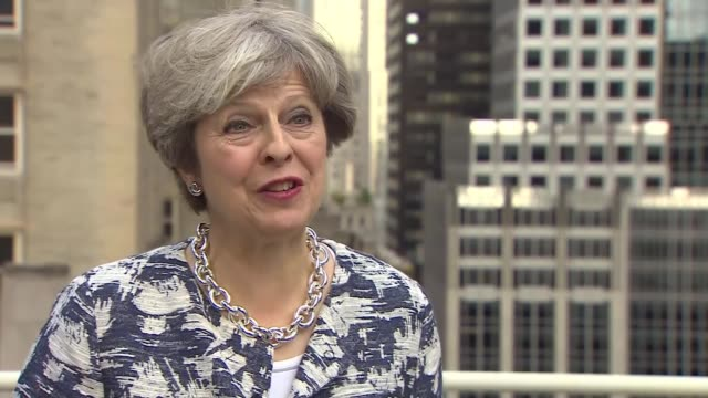 vidéos et rushes de interview pm, theresa may, on boris johnson and the eu; usa: new york: ext theresa may mp interview re boris johnson newspaper article, rohingya, the... - prime minister