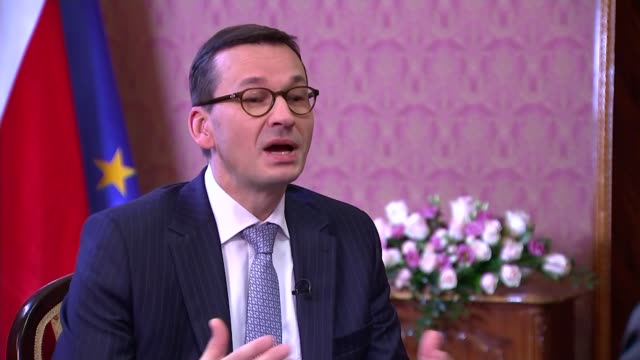 interview with Polish Prime Minister Mateusz Morawiecki POLAND Warsaw Chancellery INT Mateusz Morawiecki interview SOT some differences of opinion /...