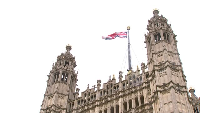 irish government insist that the backstop is essential to any deal england london westminster ext general views union jack flag flying over victoria... - victoria tower stock-videos und b-roll-filmmaterial