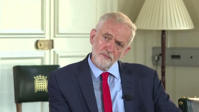 jeremy corbyn interview england london westminster int jeremy corbyn mp interview sot / gvs corbyn signing letter - jeremy corbyn stock videos & royalty-free footage