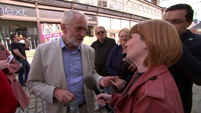 jeremy corbyn says he has plan to save britain's high streets from retail apocalypse bolton greater manchester uk jeremy corbyn mp interview with... - activity stock videos & royalty-free footage