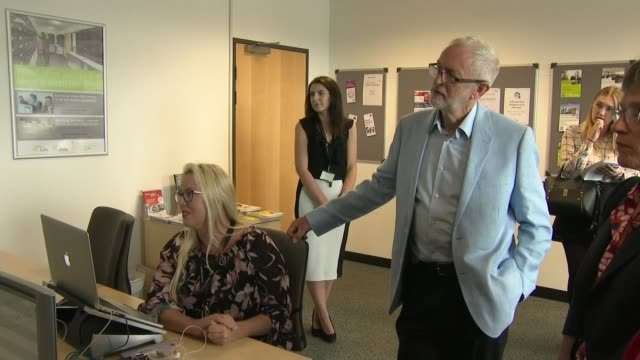 Jeremy Corbyn visits Stevenage to discuss impact of nodeal Brexit on small businesses ENGLAND Hertfordshire Stevenage Business and Technology Centre...