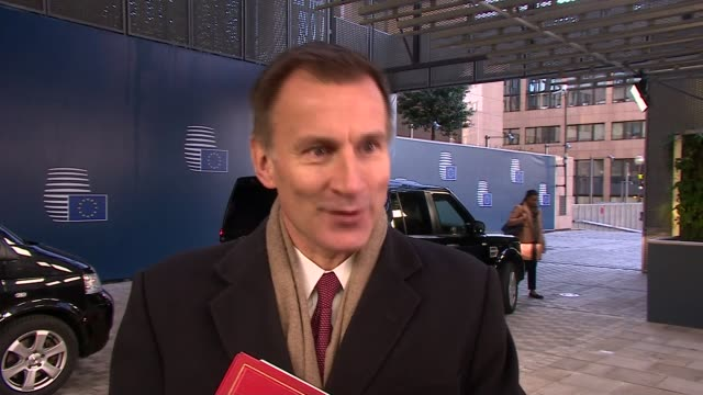 Jeremy Hunt interview delay to Parliament vote on Brexit deal BELGIUM Brussels European Council EXT Jeremy Hunt MP arrival and interview SOT