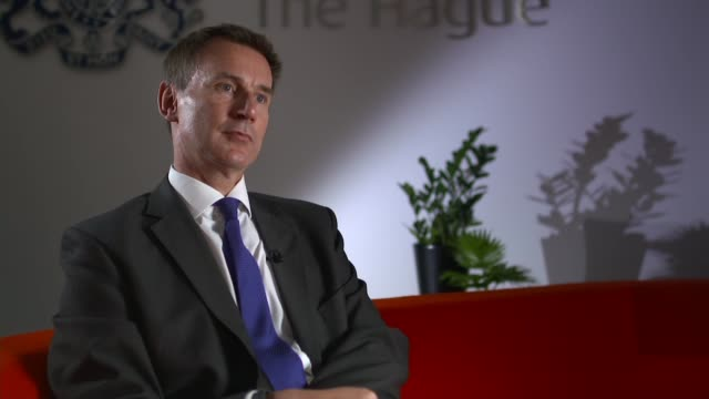 jeremy hunt interview netherlands the hague ext jeremy hunt mp interview continued sot implications of a 'no deal' brexit - governmental occupation stock videos & royalty-free footage