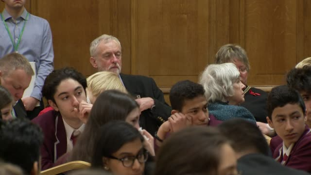 Jo Stevens resigns Labour front bench role in Article 50 row ENGLAND London INT Jeremy Corbyn MP seated in audeince at Holocaust Memorial Day event...