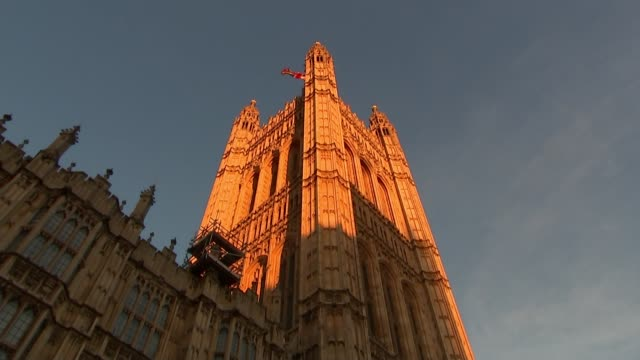 John Bercow denies that Parliament could be suspended to force through No Deal ENGLAND London Westminster EXT Low angle shot Victoria Tower Union...