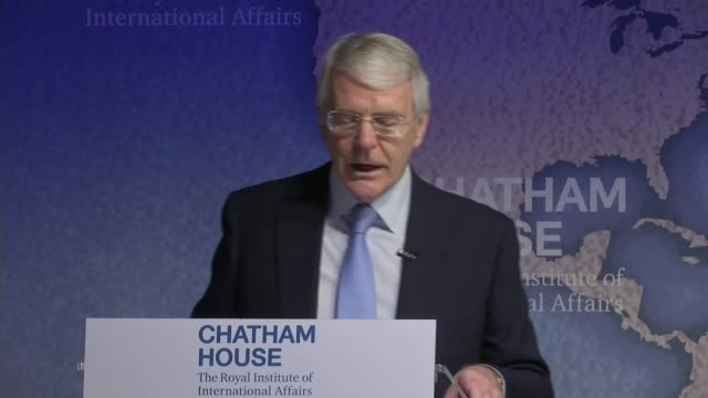 John Major speech Brexit John Major speech ENGLAND London INT John Major speech SOT Be realistic about the timescale and the complexity of the huge...