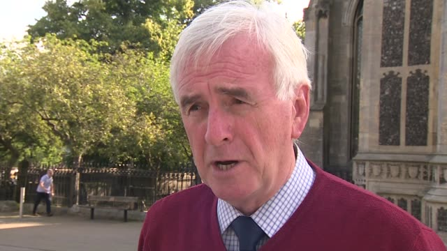 john mcdonnell throws weight behind demands for boris johnson to cut short parliament recess england ext john mcdonnell mp interview sot / mcdonnell... - walking stock videos & royalty-free footage