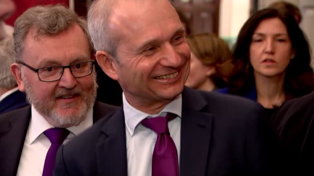 joint ministerial committee meeting / david lidington interview; england: london: whitehall: cabinet office: int david davis mp shaking hands and... - david m. davis politician stock videos & royalty-free footage