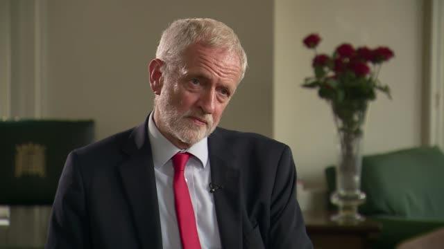 labour backs second eu referendum jeremy corbyn interview england london westminster int jeremy corbyn mp interview sot on labour's position on... - back stock videos & royalty-free footage