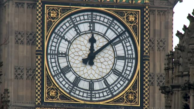 labour mp quits front bench over article 50 vote england london ext close shot of face of big ben showing 1209 pm - article stock videos and b-roll footage