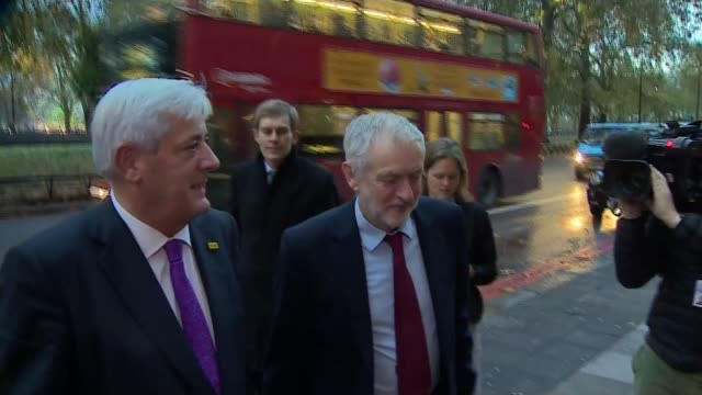 labour mp quits front bench over article 50 vote westminster ext jeremy corbyn mp stands talkign with unidentified man in street/ jeremy corbyn mp... - article stock videos and b-roll footage