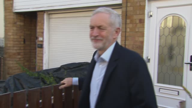 labour party will support second referendum: jeremy corbyn doorstep; england: london: ext jeremy corbyn mp from house to car and away - jeremy corbyn stock videos & royalty-free footage