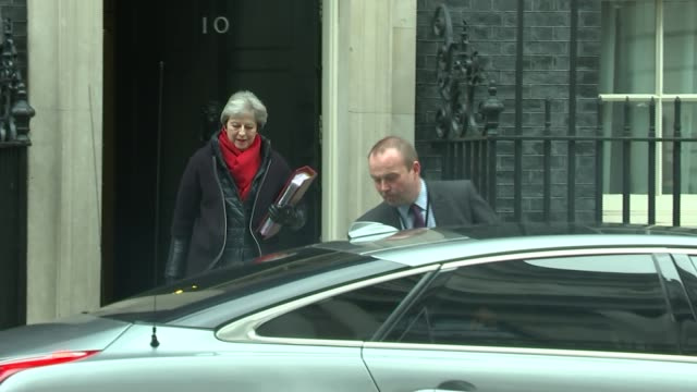 labour prepare to reveal customs union plans whitehall downing street theresa may mp leaving number 10 and along to car - number 10 stock videos & royalty-free footage