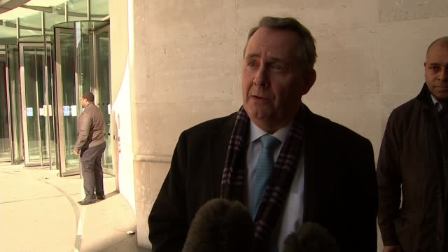 labour prepare to reveal customs union plans england london ext liam fox mp along liam fox mp interview sot simply saying a customs union is not good... - itv weekend evening news点の映像素材/bロール