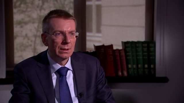 latvian foreign minister edgars rinkevics interview england london int edgars rinkevics interview sot were not very happy to see results of... - キャシー・ニューマン点の映像素材/bロール