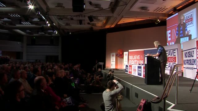 'leave means leave' rally cutaways; england: london: int cutaways of audience and speeches including tim martin , sammy wilson mp , nigel farage mep... - mep stock videos & royalty-free footage