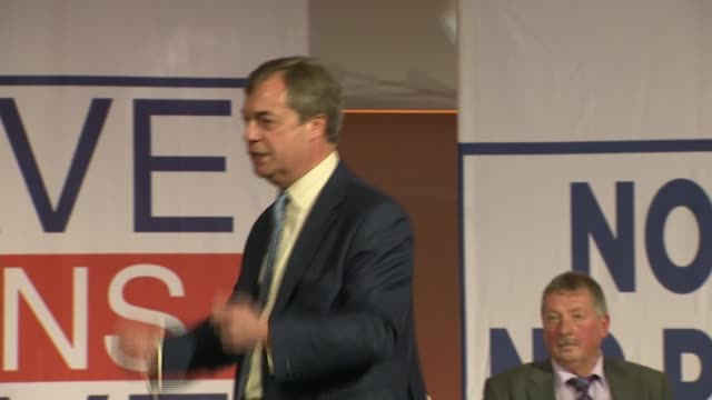 'leave means leave' rally: nigel farage speech; england: london: int nigel farage mep speech sot - mep stock videos & royalty-free footage