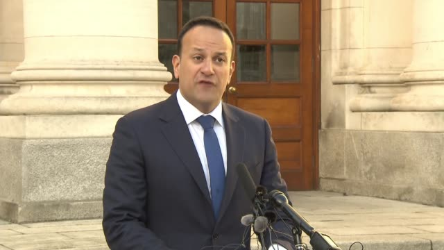 Leo Varadkar reveals that Irish preparations for No Deal are being implemented IRELAND Dublin EXT Leo Varadkar press conference SOT