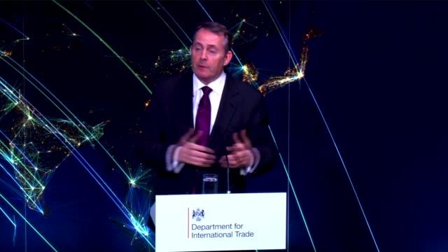 Liam Fox speech ENGLAND London Bloomberg Headquarters INT Constantin Cotzias introductory speech SOT Dr Liam Fox MP speech SOT re undertaking...